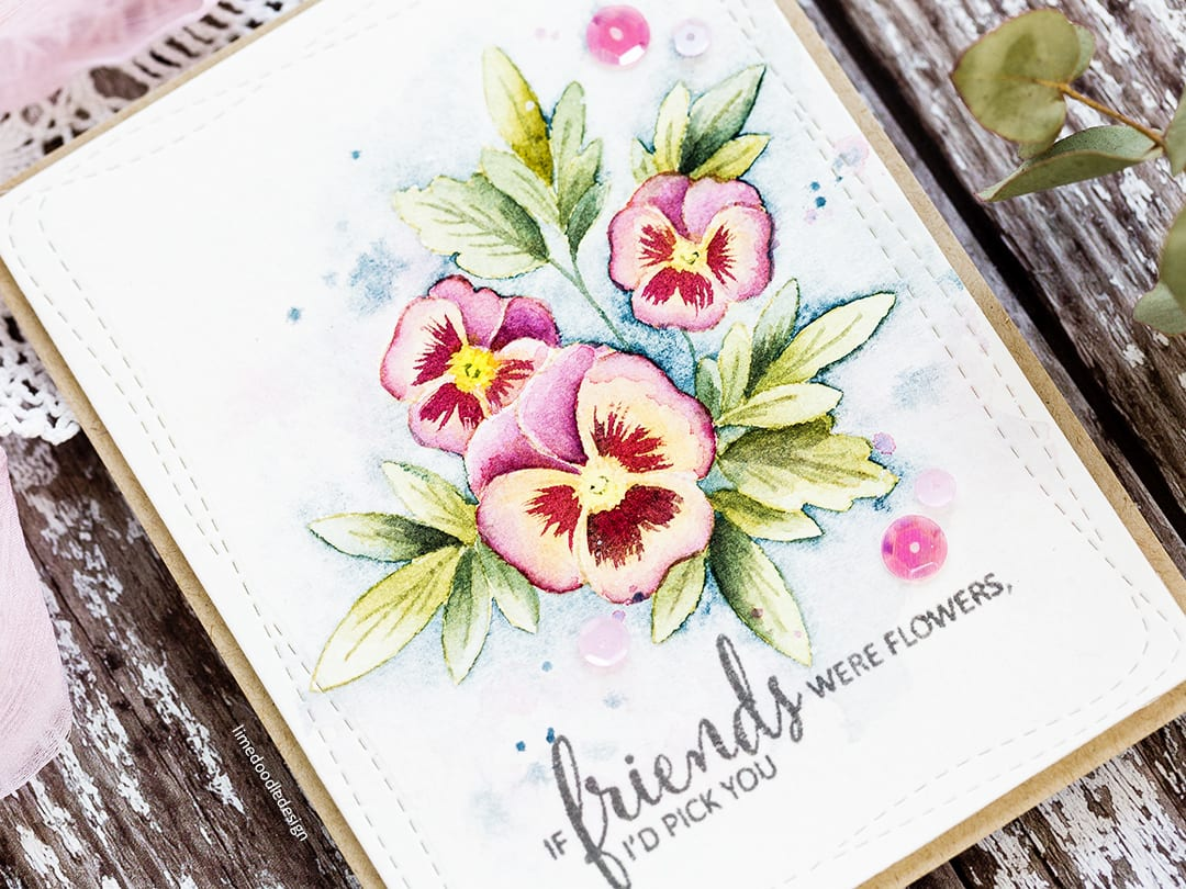 Watercoloured Pansies