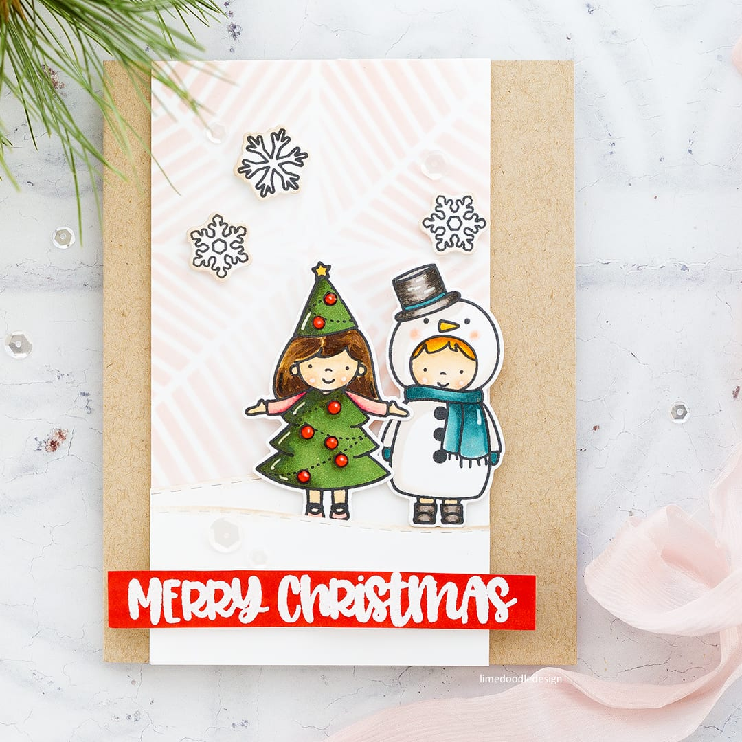 Soft, muted winter colours cute Christmas card by Debby Hughes using the Christmas Pageant set from Neat & Tangled. Find out more here: http://limedoodledesign.com/2017/11/muted-winter-colours/