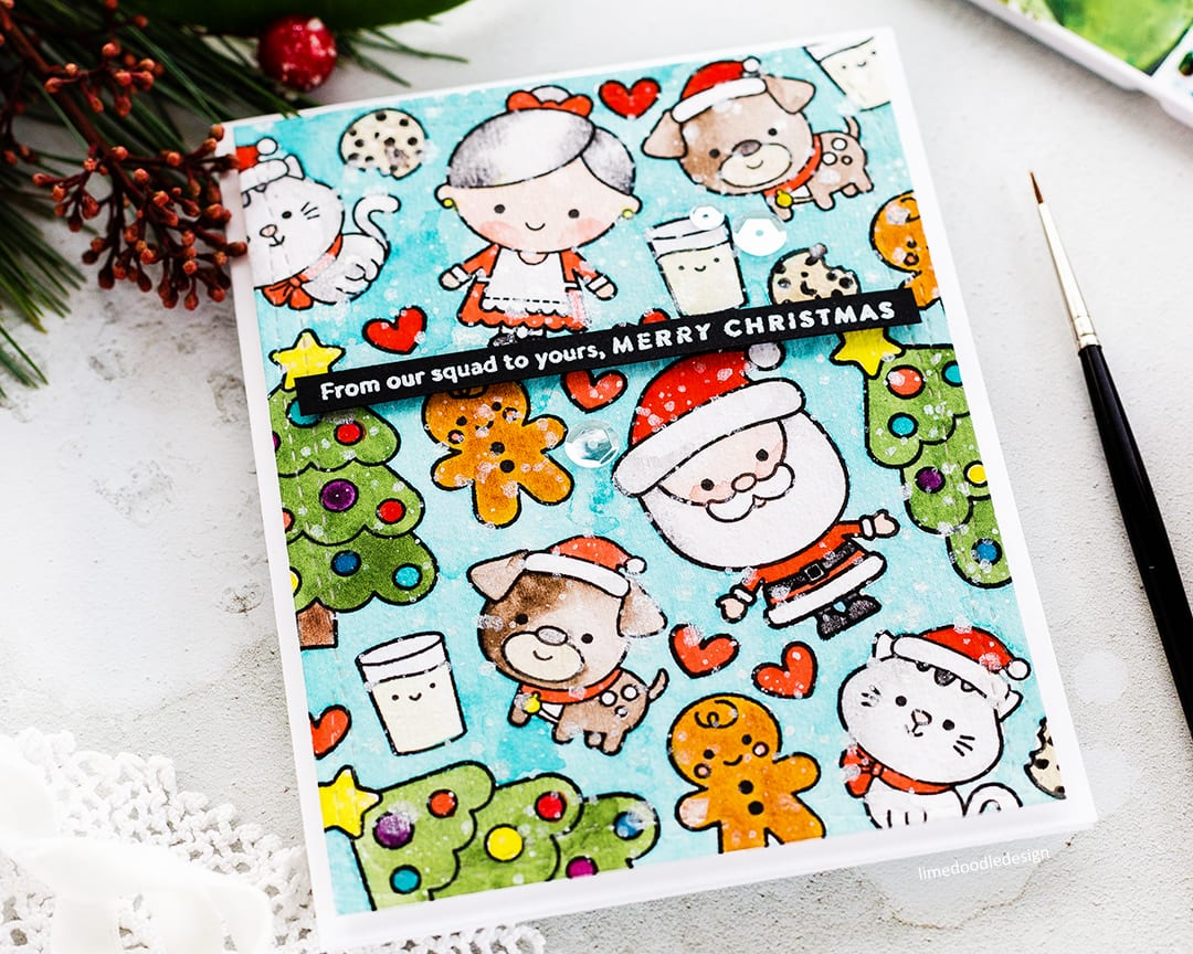Watercoloured cute Christmas card by Debby Hughes using the stamp set from the Simon Says Stamp December Card Kit. Find out more: http://limedoodledesign.com/2017/11/video-christmas-squad-sss-december-2017-card-kit/