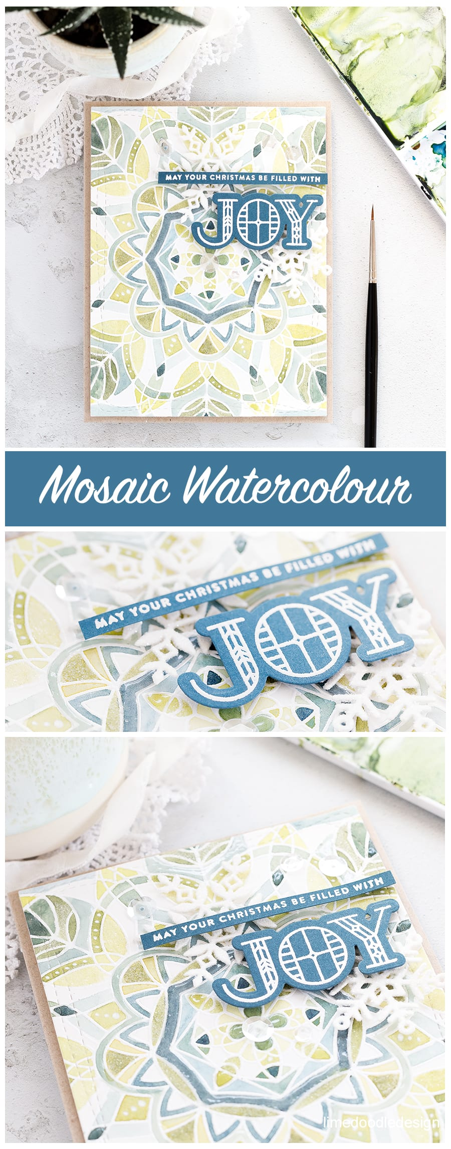 Mosaic/spotlight watercolouring a soft and elegant background for this handmade Christmas card by Debby Hughes using the Centre Cut Kaleidoscope Bakcground and Stained Glass Greetings set from Simon Says Stamp. Find out more here: http://limedoodledesign.com/2017/11/mosaic-watercolour/