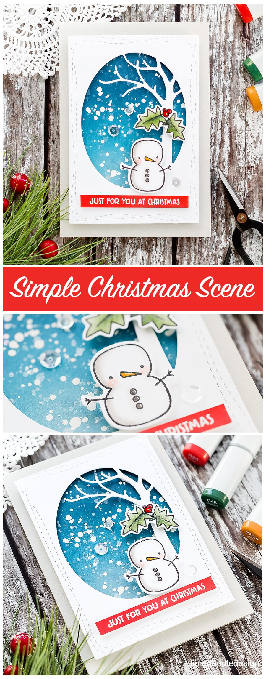 Quick and easy winter scene for this cute Christmas card by Debby Hughes using the Merry & Bright set from Simon Says Stamp. Find out more about this handmade card here: http://limedoodledesign.com/2017/11/video-quick-easy-winter-scene/