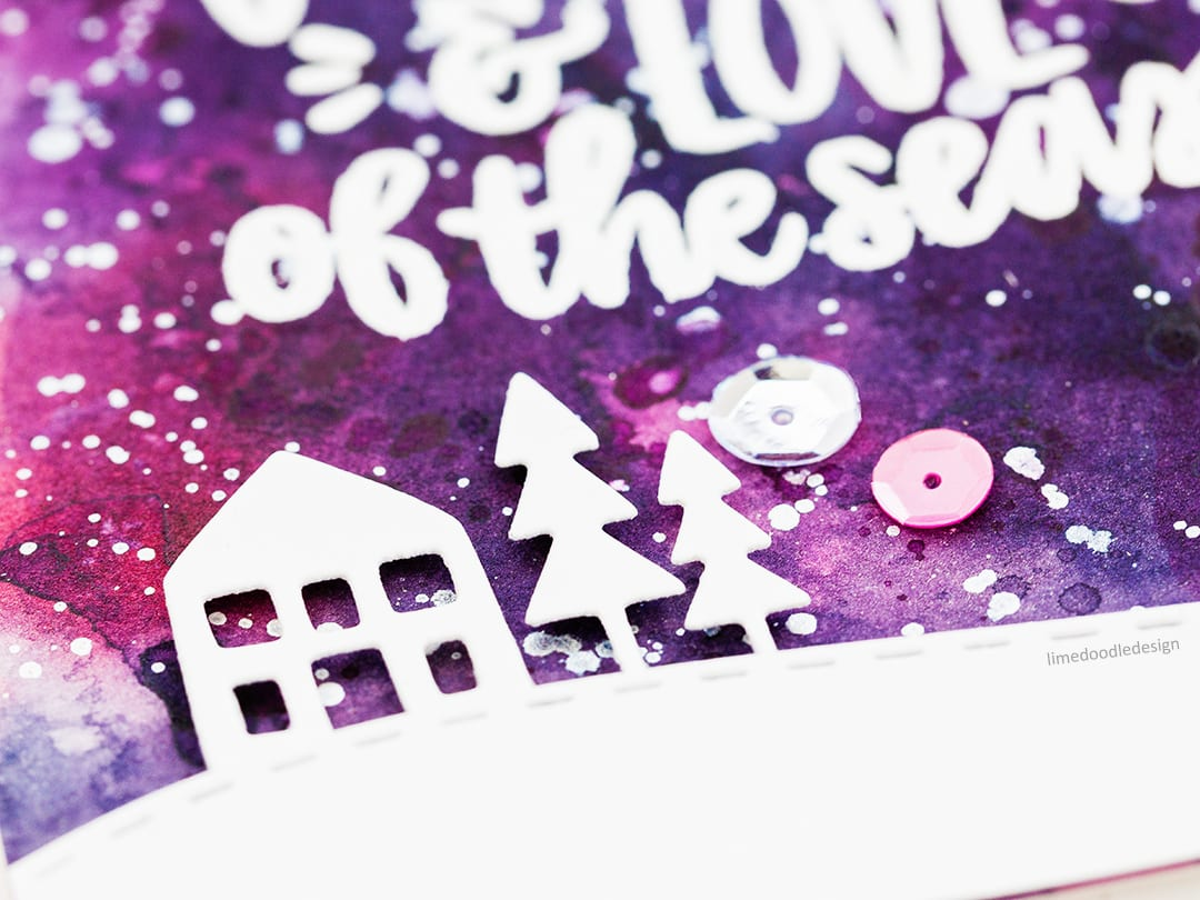 A fun watercoloured background showcases this beautiful Christmas sentiment. Handmade card by Debby Hughes. Find out more here: http://limedoodledesign.com/2017/12/joy-warmth-love-of-the-season/