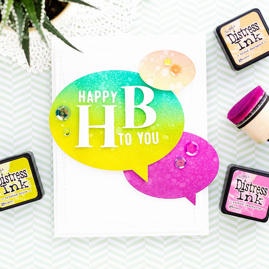 Fun, bright, modern handmade birthday card by Debby Hughes using products from the new Diecember release from Simon Says Stamp. Find out more here: http://limedoodledesign.com/2017/12/happy-hb-simon-says-stamp-diecember-release/