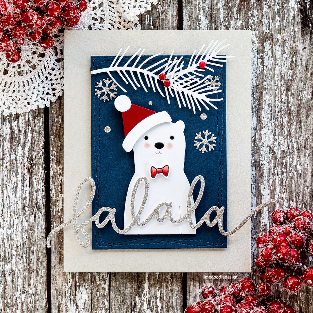 Die cutting is a quick, easy, no fuss way to create those last minute Christmas cards! Handmade polar bear card by Debby Hughes. Find out more: http://limedoodledesign.com/2017/12/the-dies-have-it/