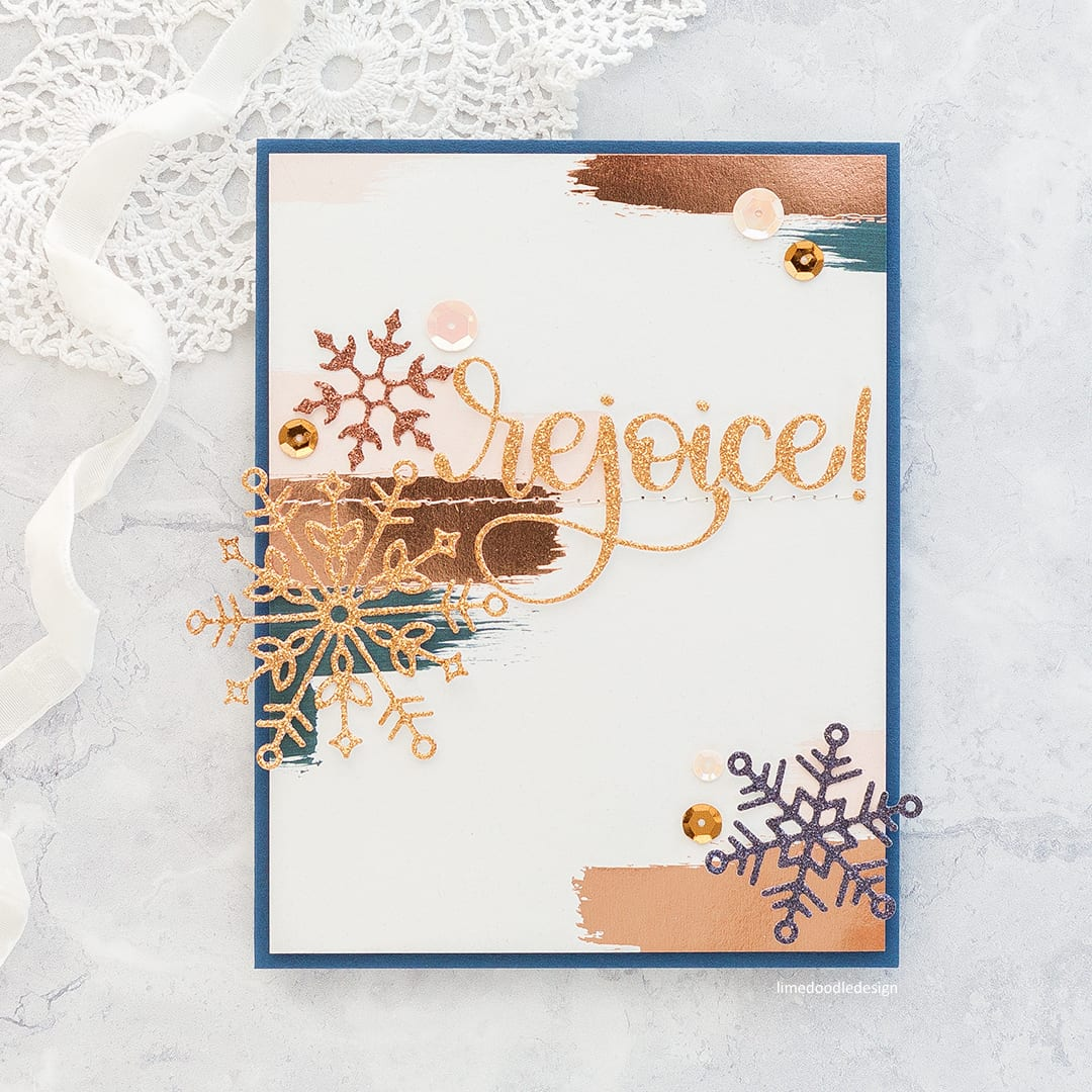 Glitter Snowflakes two ways - two handmade Holiday cards using new dies from Simon Says Stamp's DieCember release. Find out more here: http://limedoodledesign.com/2017/12/rejoice-simon-says-stamp-diecember-blog-hop/