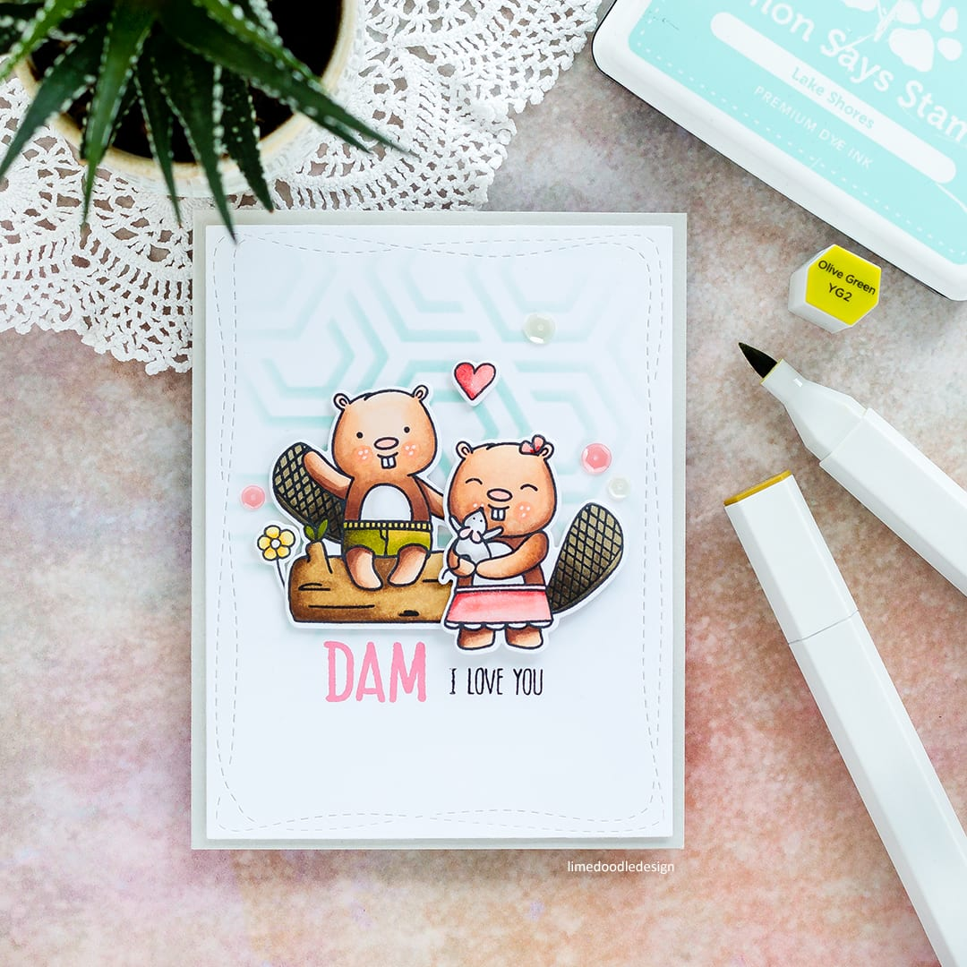 Cute beaver handmade Valentine's card by Debby Hughes using the Beavers Eh set from Neat & Tangled. Find out more here: http://limedoodledesign.com/2018/01/dam-i-love-you/