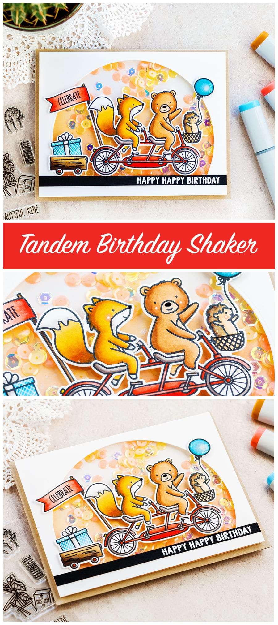 Cute shaker birthday card by Debby Hughes using the new Ride With Me set from Neat & Tangled. Find out more here: http://limedoodledesign.com/2018/02/cute-shaker-card-new-neat-tangled-giveaway/