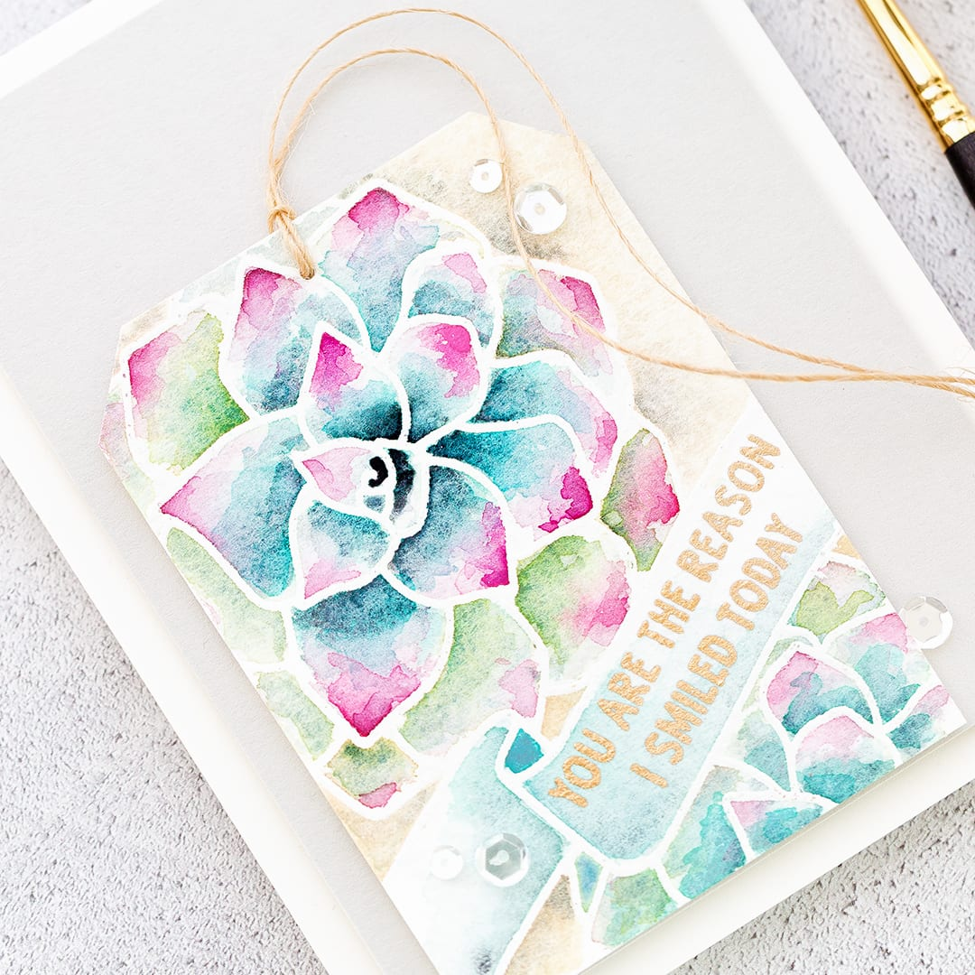 Watercoloured succulent handmade card by Debby Hughes using supplies from Neat & Tangled. Find out more here: http://limedoodledesign.com/2018/02/watercoloured-succulent-tag/