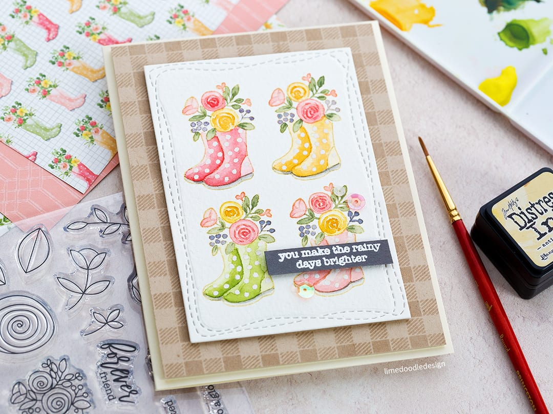Spring Welly Boots + Simon Says Stamp March Card Kit