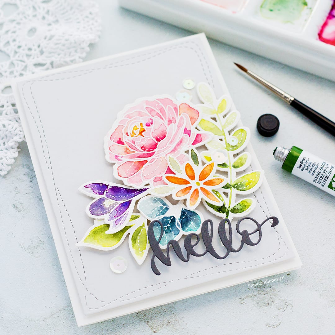 I'm wishing Spring was here and so I'm breaking out my Spring Flowers sets and watercolouring a quick card. You can find more about this handmade card by Debby Hughes here: http://limedoodledesign.com/2018/02/breaking-out-the-spring-flowers/