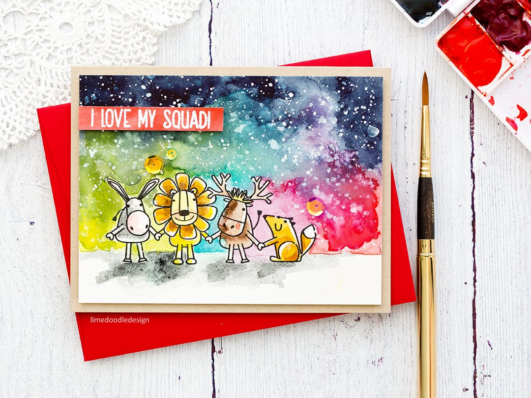 Messy watercolouring handmade card by Debby Hughes using the Best Friends stamp set from Simon Says Stamp. Find out more here: http://limedoodledesign.com/2018/02/messy-watercolouring-2/