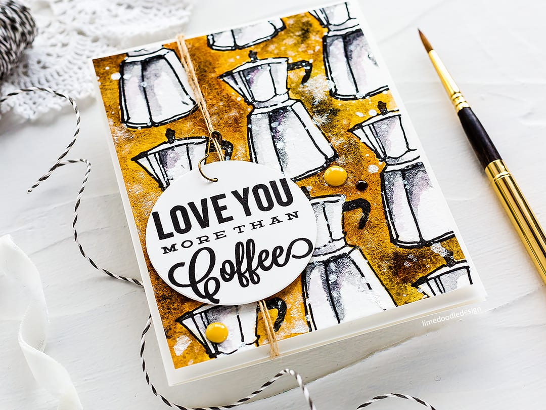 Masculine watercoloured coffee lover handmade card by Debby Hughes. Find out more here: http://limedoodledesign.com/2018/03/repeat-pattern-watercoloured-background/