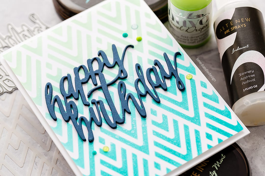 Stencilled background handmade birthday cards by Debby Hughes using new Altenew stencils and spray inks. Find out more here: http://limedoodledesign.com/2018/03/video-altenew-march-2018-release-blog-hop-giveaway/