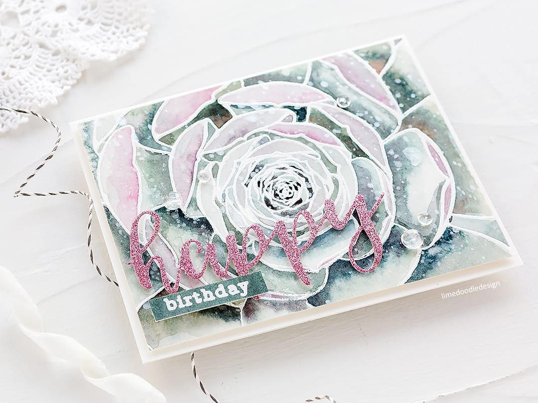 Watercoloured succulent handmade birthday card by Debby Hughes. Find out more http://limedoodledesign.com/2018/03/video-altenew-march-stamp-die-release-blog-hop-giveaway/