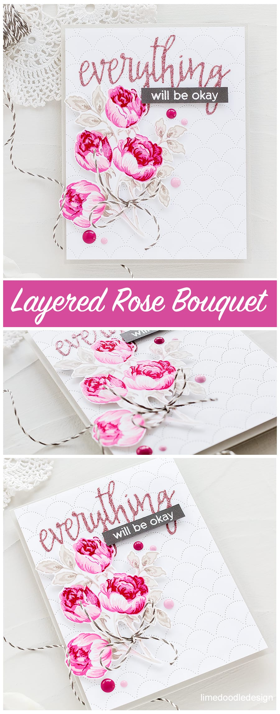 Video tutorial - multi layered rose handmade card by Debby Hughes. Find out more http://limedoodledesign.com/2018/03/video-altenew-march-stamp-die-release-blog-hop-giveaway/