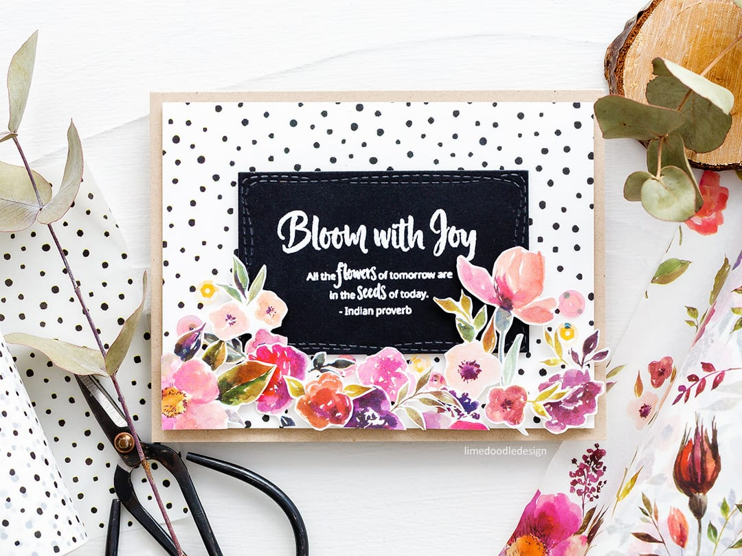 Washi tape handmade card by Debby Hughes using new Altenew washi tapes. Find out more here: http://limedoodledesign.com/2018/03/video-altenew-march-2018-release-blog-hop-giveaway/