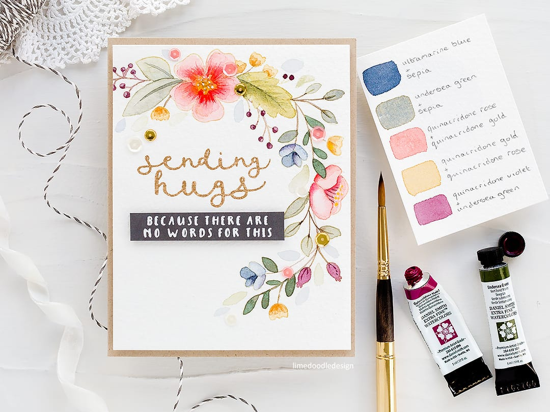Choosing a colour palette for this muted watercolour floral handmade card by Debby Hughes. Find out more here: http://limedoodledesign.com/2018/03/watercoloured-wreath-picking-a-colour-palette/