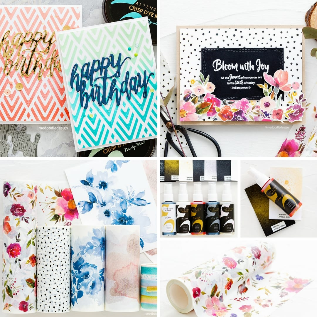 Altenew New March 2018 Release of Stencils, Washi Tape and Spray Inks. Find out more here: http://limedoodledesign.com/2018/03/video-altenew-march-2018-release-blog-hop-giveaway/