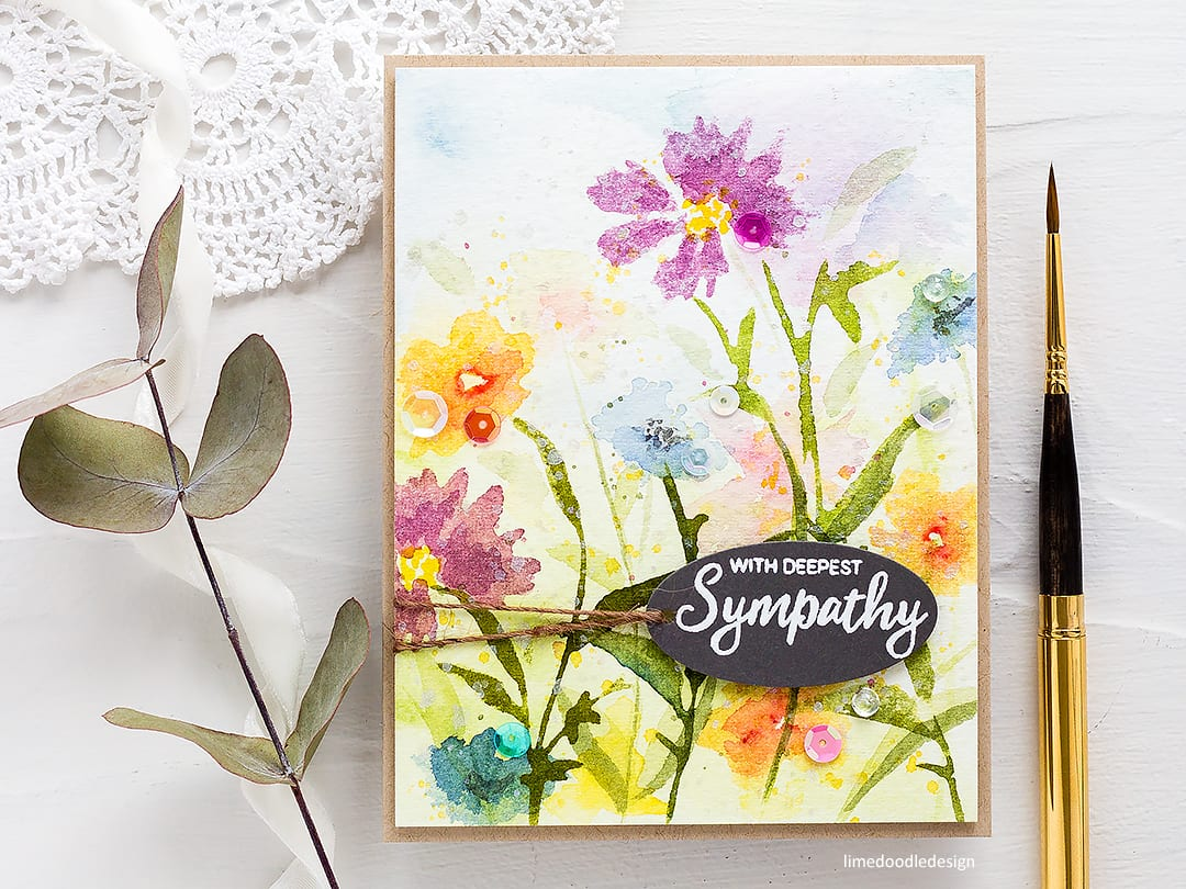Handmade wildflower sympathy card by Debby Hughes stamping with watercolour paints. Find out more here: http://limedoodledesign.com/2018/04/video-altenew-4th-anniversary-blog-hop-day-2-giveaway/