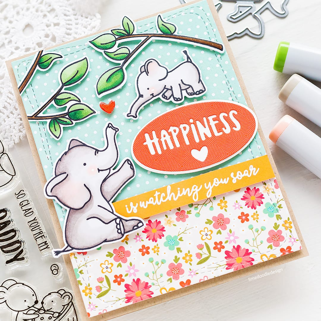 Cute baby elephant handmade card by Debby Hughes. Find out more here: http://limedoodledesign.com/2018/04/happiness-is-watching-you-soar/