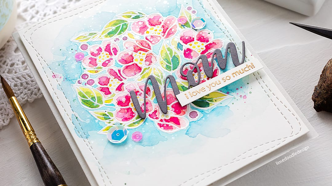 Heat embossing resist watercolour handmade floral Mother's Day card by Debby Hughes. Find out more here: http://limedoodledesign.com/2018/04/video-heat-emboss-resist-watercolouring-simon-says-stamp-blog-hop/