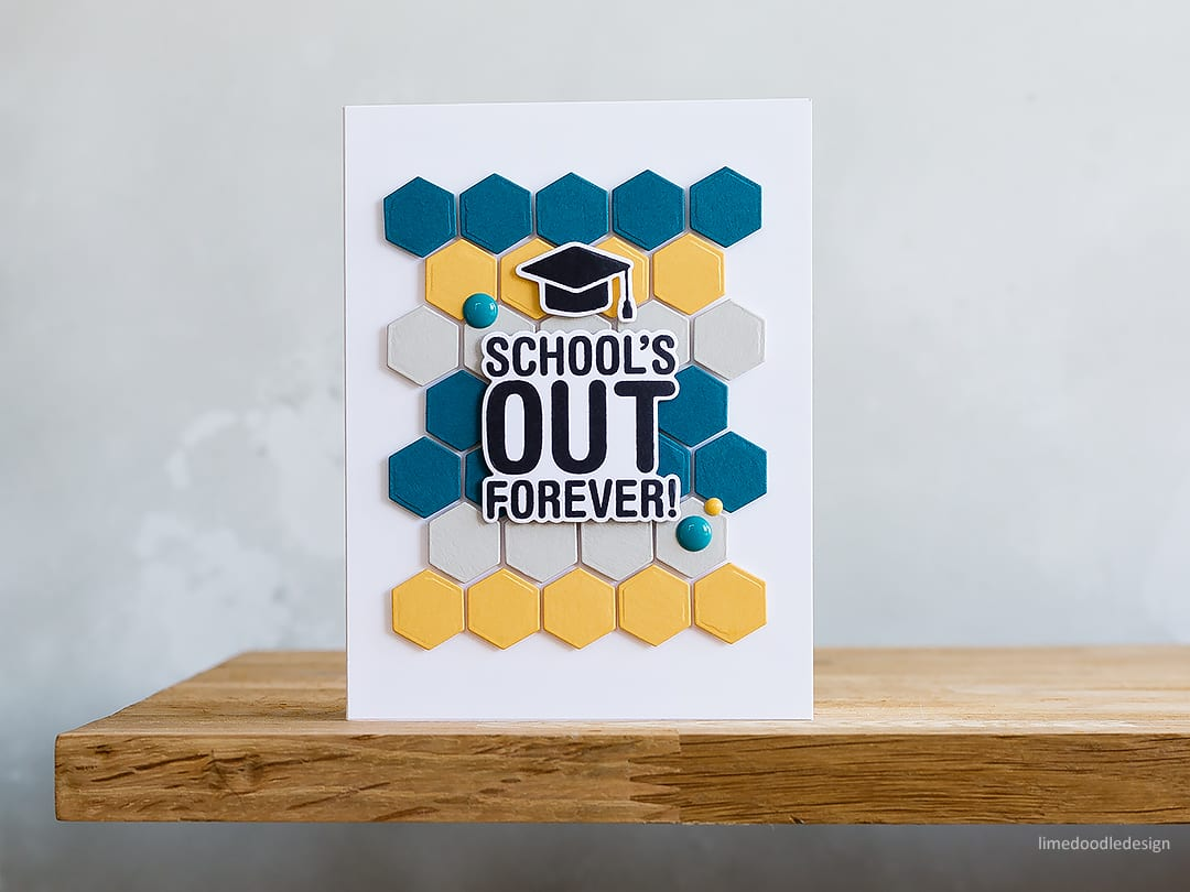 Clean & simple, handmade graduation card by Debby Hughes. Find out more here: http://limedoodledesign.com/2018/04/video-clean-simple-graduation-card-playing-with-colour-repetition/