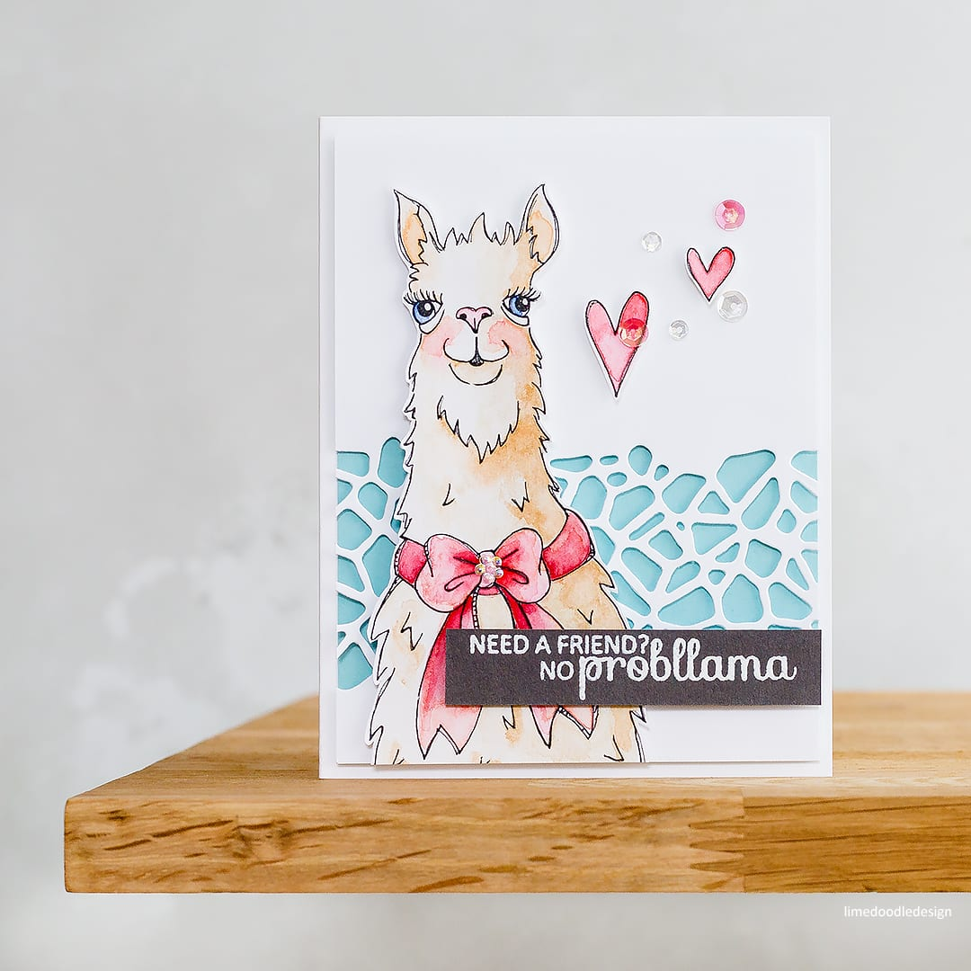 How about a fun handmade llama card for a friend?! Card created by Debby Hughes. Find out more here: http://limedoodledesign.com/2018/04/quick-easy-card-no-probllama/