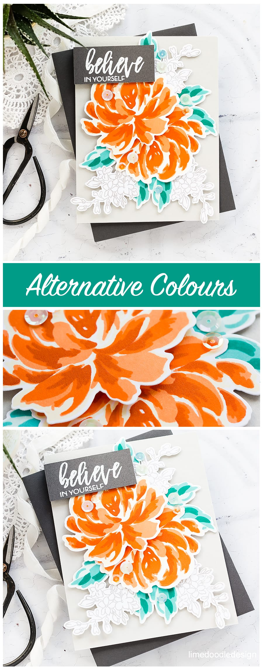 Playing around with alternative colours for flowers and leaves. Handmade card by Debby Hughes. Find out more here: http://limedoodledesign.com/2018/05/alternative-colours/