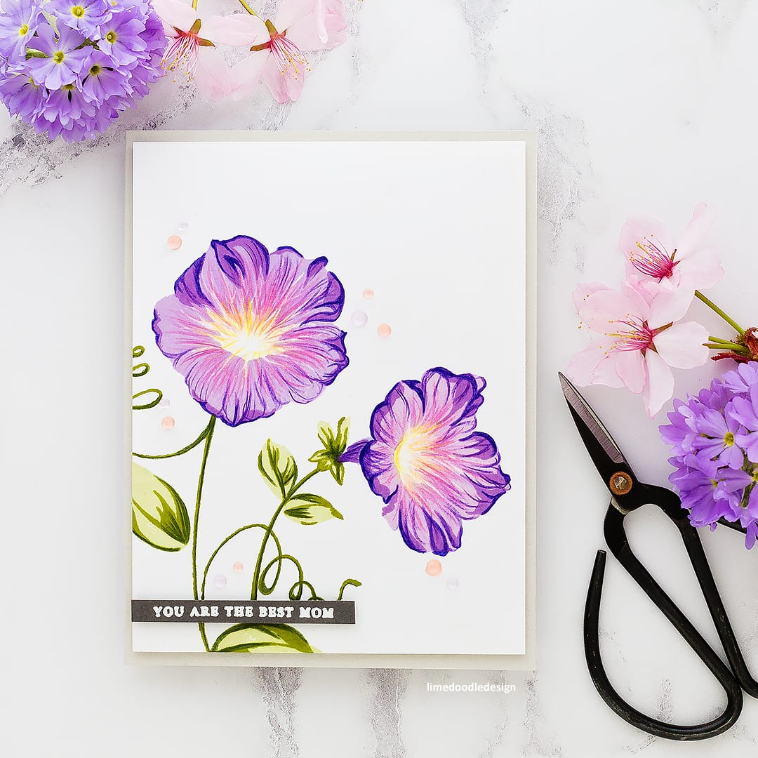 The funnel flowers of Morning Glory are so beautiful for a handmade Mother's Day card. Find out more about this card by Debby Hughes: http://limedoodledesign.com/2018/05/altenew-build-a-flower-morning-glory/