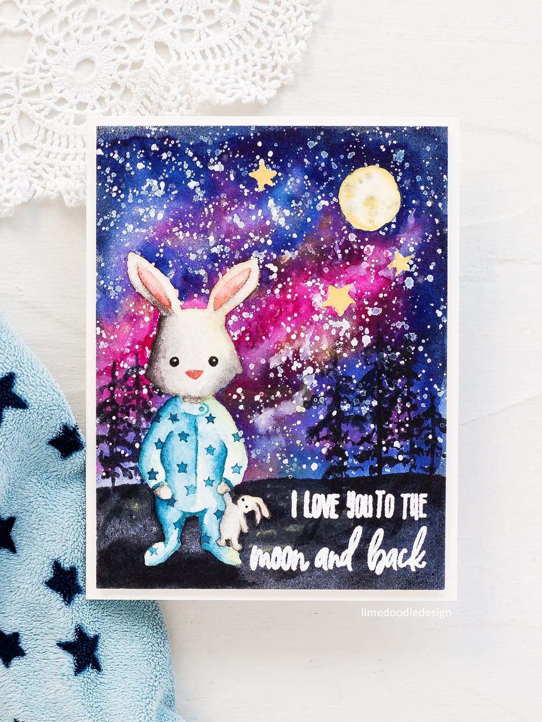 The emotional connection to this card was so strong for me and as a result I enjoyed making it even more so than normal do! No line watercolour cute rabbit handmade card by Debby Hughes. Find out more here: http://limedoodledesign.com/2018/05/no-line-watercolouring-galaxy-scene/