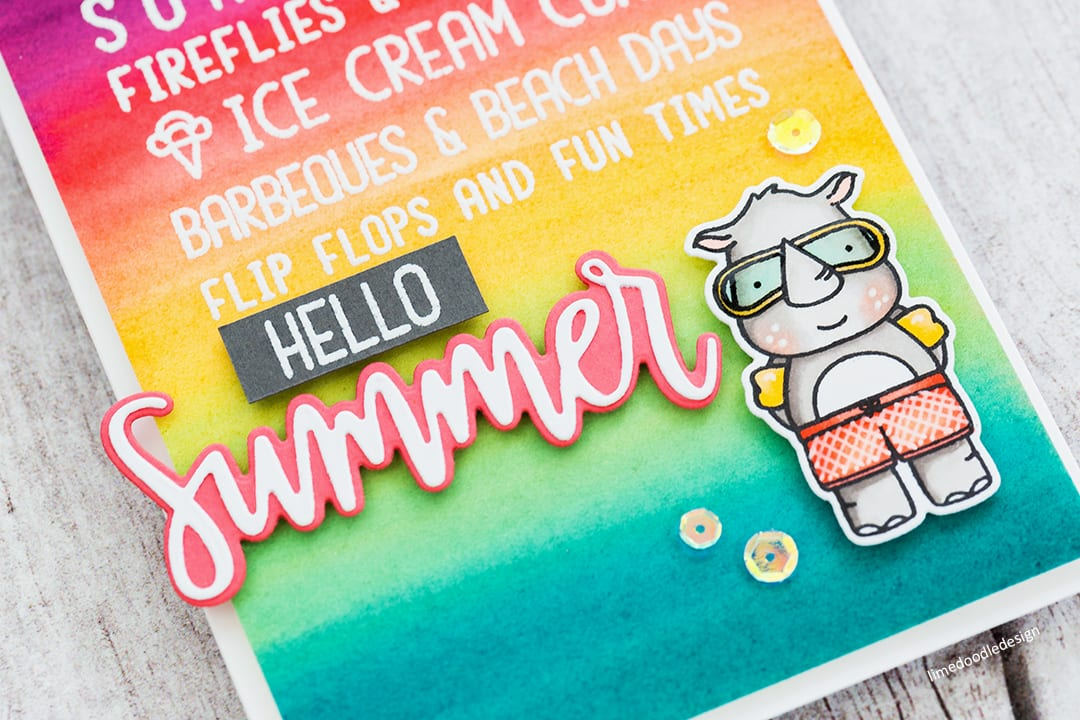 Handmade summery card by Debby Hughes using a colourful watercolour wash as the background. Find out more here: http://limedoodledesign.com/2018/05/watercolour-gradient-background/