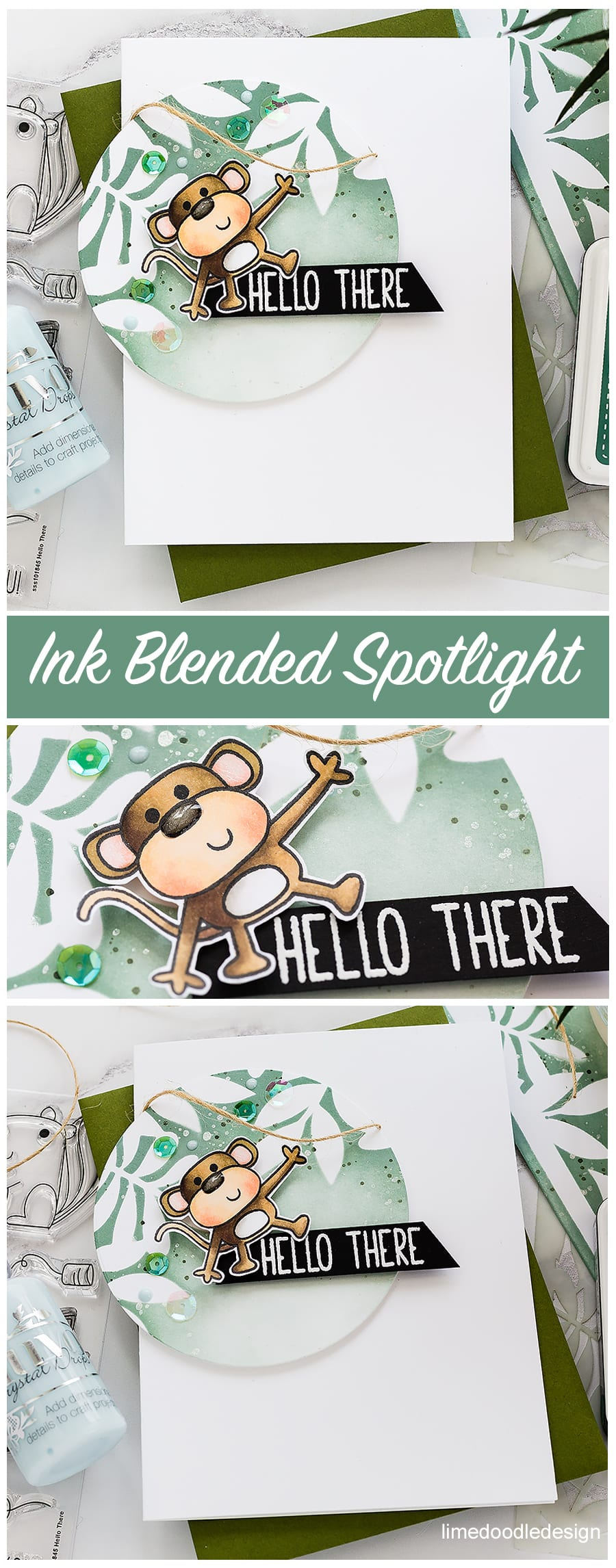 Spotlight ink blending, cute critters handmade cards by Debby Hughes using Simon Says Stamp products. Find out more here: http://limedoodledesign.com/2018/05/video-spotlight-ink-blended-backgrounds/