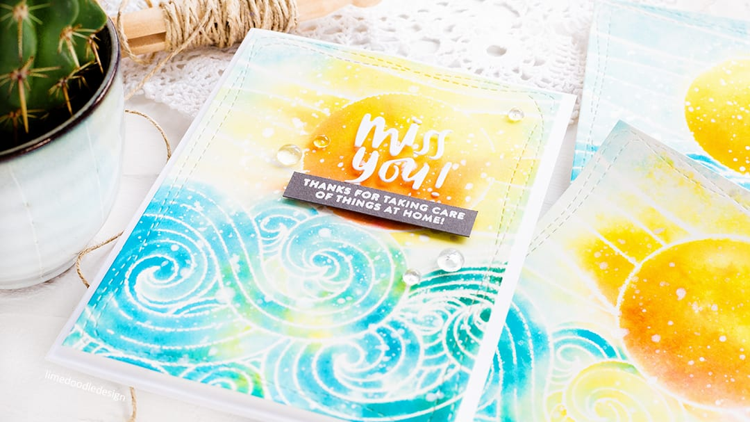 Faux watercolouring with Distress Inks, handmade card by Debby Hughes. Find out more here: http://limedoodledesign.com/2018/06/faux-watercolouring-with-distress-inks-giveaway/