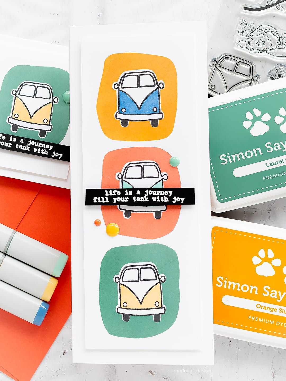 Retro colour blocking handmade cards by Debby Hughes. Find out more here: http://limedoodledesign.com/2018/07/retro-colour-blocking/