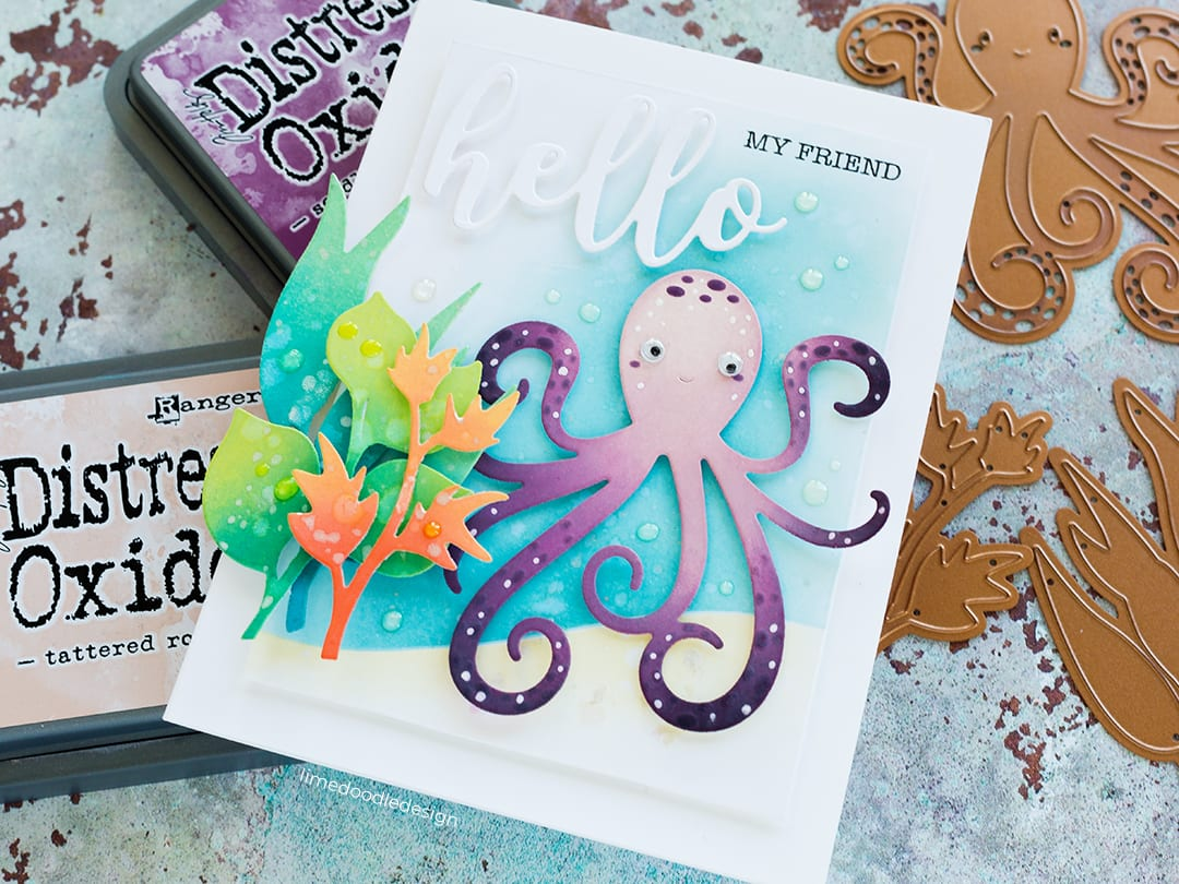 Distress Oxide blending with Spellbinders Exclusives Collection at Simon Says Stamp. Handmade card by Debby Hughes. Find out more here: http://limedoodledesign.com/2018/07/distress-oxide-blending-blog-hop-giveaway/