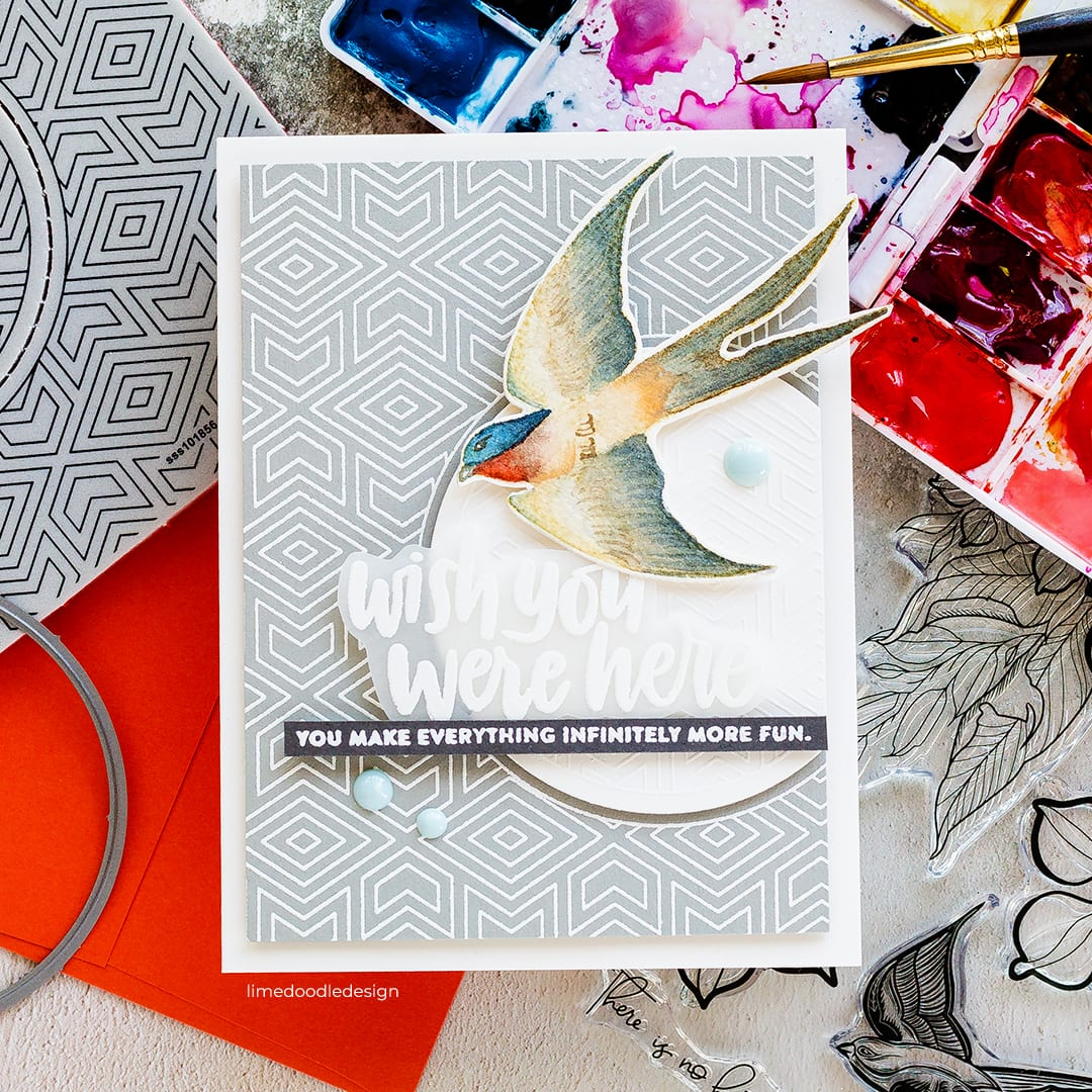 Can you remember the magic of watching embossing powder melt the first time? Today I'm chatting about one of my favourite techniques. Handmade card by Debby Hughes using products from Simon Says Stamp. Find out more here: http://limedoodledesign.com/2018/07/heat-embossing-a-favourite-technique-giveaway/