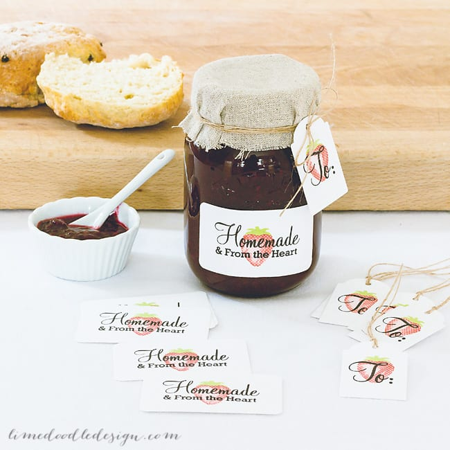 Homemade produce labels & tags. For more please visit https://limedoodledesign.com/2014/11/from-the-heart-giveaway/ Debby Hughes - Lime Doodle Design #label #tag #homemade #strawberry #jam