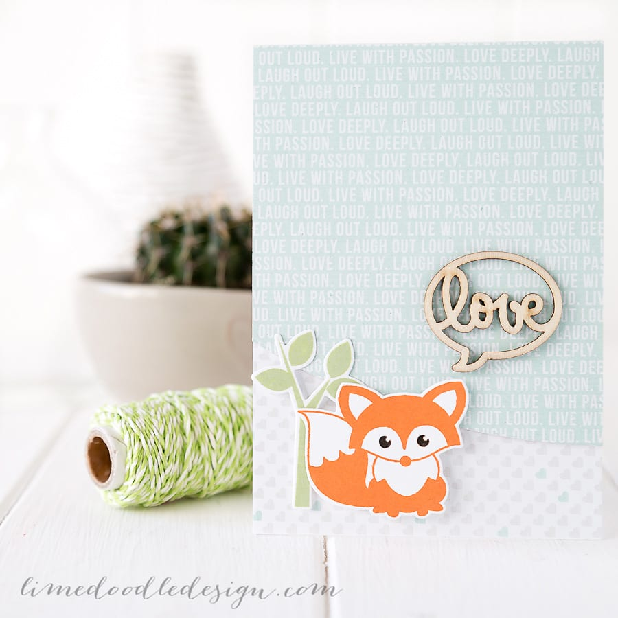 Debby Hughes - Lime Doodle Design - Clearly Besotted Stamps September release, Simon Says Stamp - kawaii, fox, card, cute