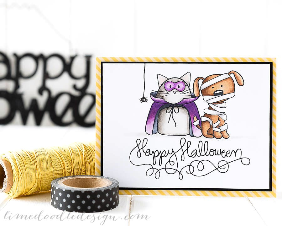 Debby Hughes - Lime Doodle Design - Simon Says Stamp STAMPtember release - halloween, card, cat, dog, cute