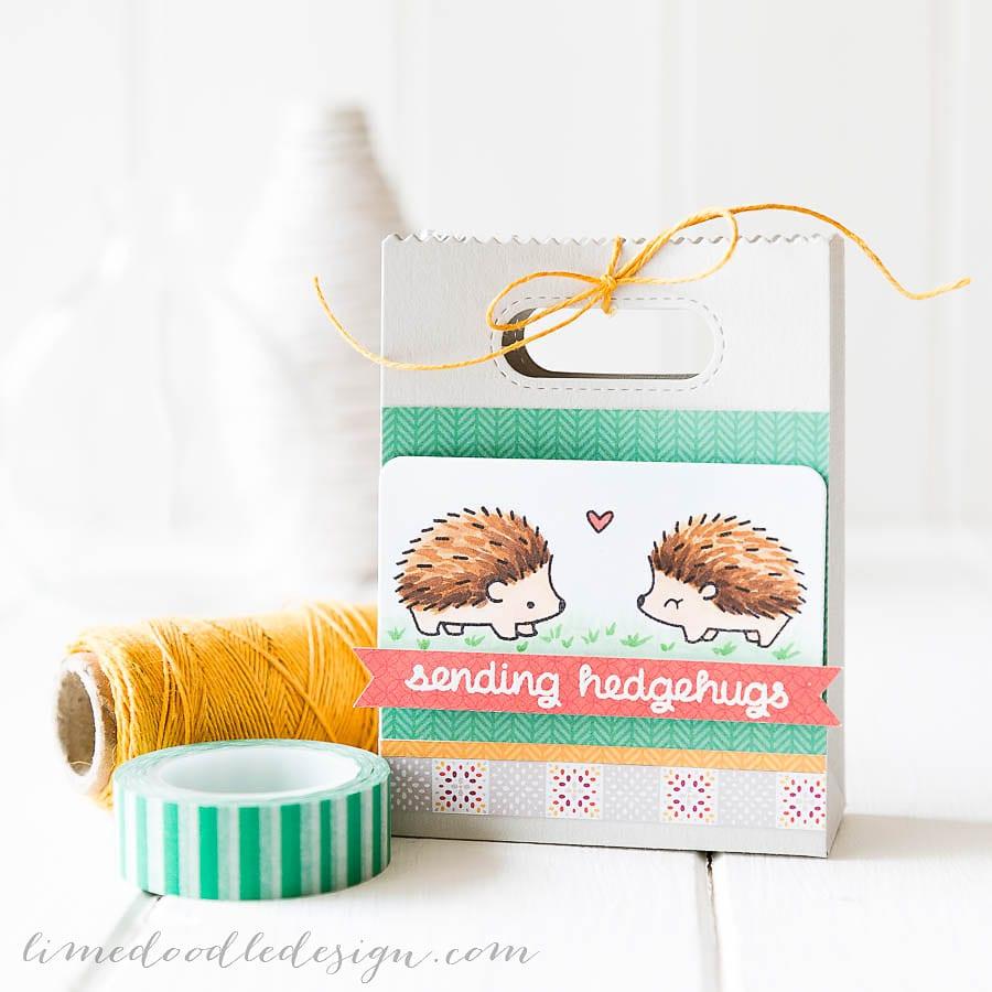 Debby Hughes - Lime Doodle Design - CASE Study Challenge - gift bag, hedgehog, hug