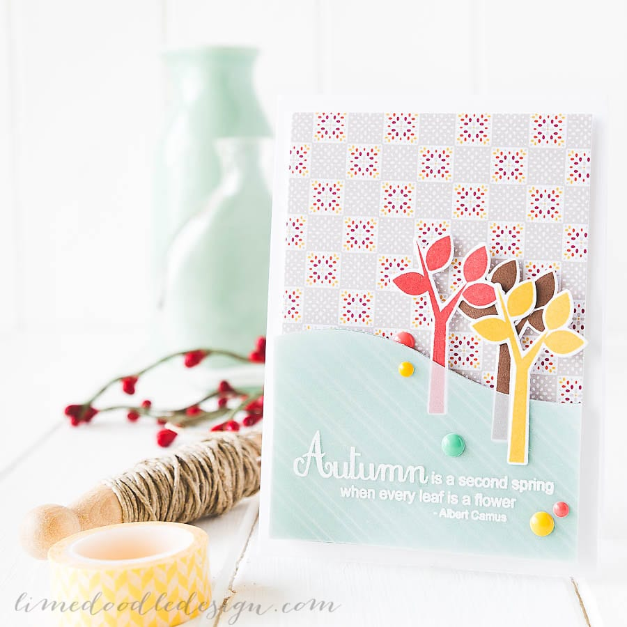Debby Hughes - Lime Doodle Design - Clearly Besotted September challenge and new release; autumn, trees, card