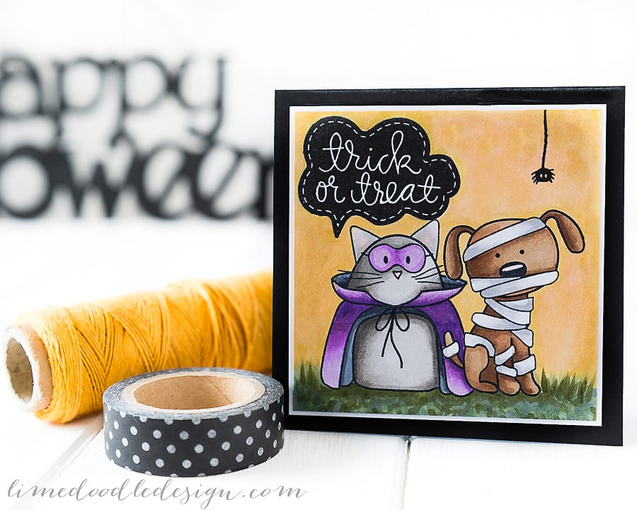 Debby Hughes - Lime Doodle Design - Simon Says Stamp STAMPtember release - Halloween, cat, dog, spider, cute, card, trick or treat, colic