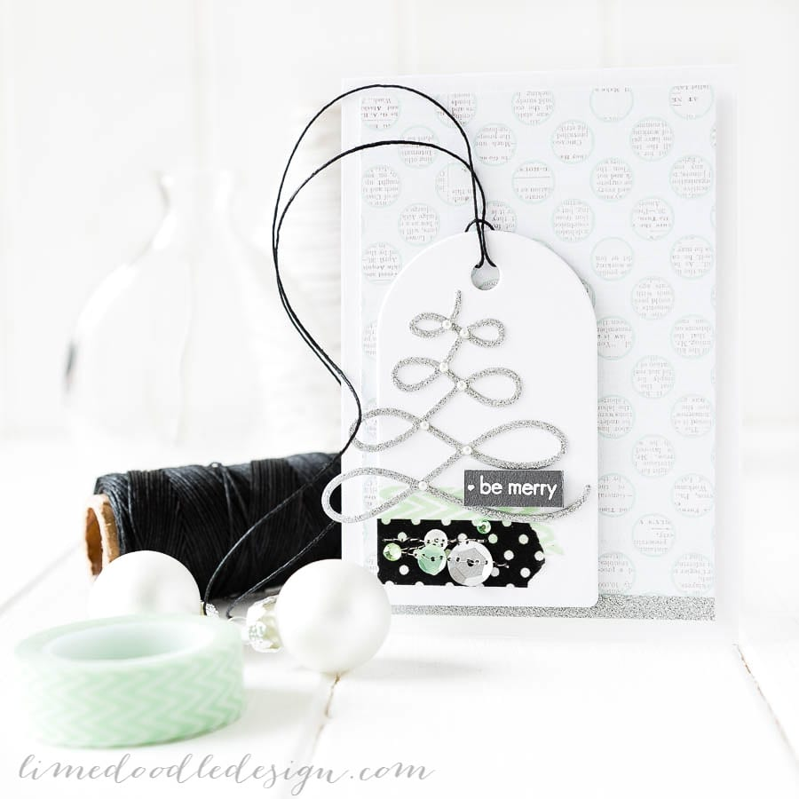 Debby Hughes - Lime Doodle Design - Clearly Besotted Stamps October release - christmas, card, tree, tag