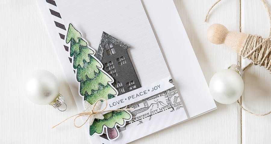 A Christmas card with a masculine vibe made using stamps and dies from Simon Says Stamp. For more please visit https://limedoodledesign.com/2014/10/love-peace-joy/ - Debby Hughes - Lime Doodle Design - christmas card tree house glitter city