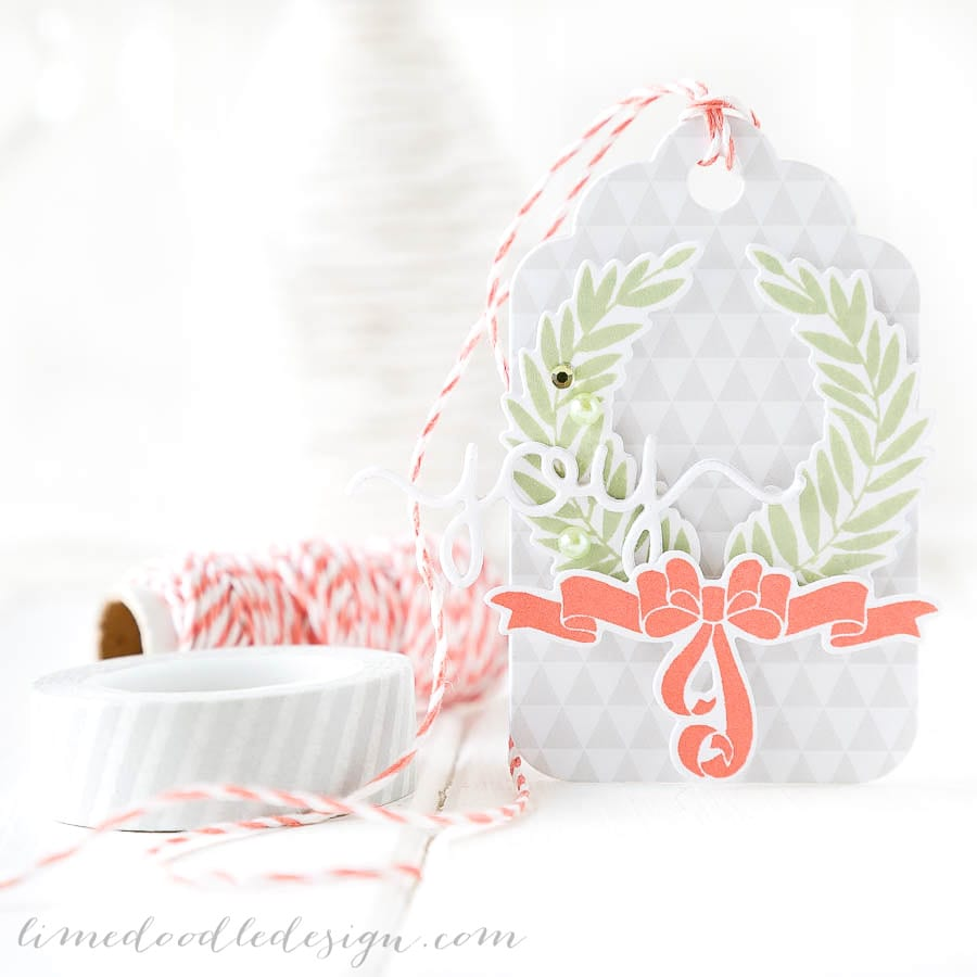 Debby Hughes - Lime Doodle Design - Clearly Besotted stamps & dies, Simon Says Stamp inks - tag, christmas, joy, ribbon