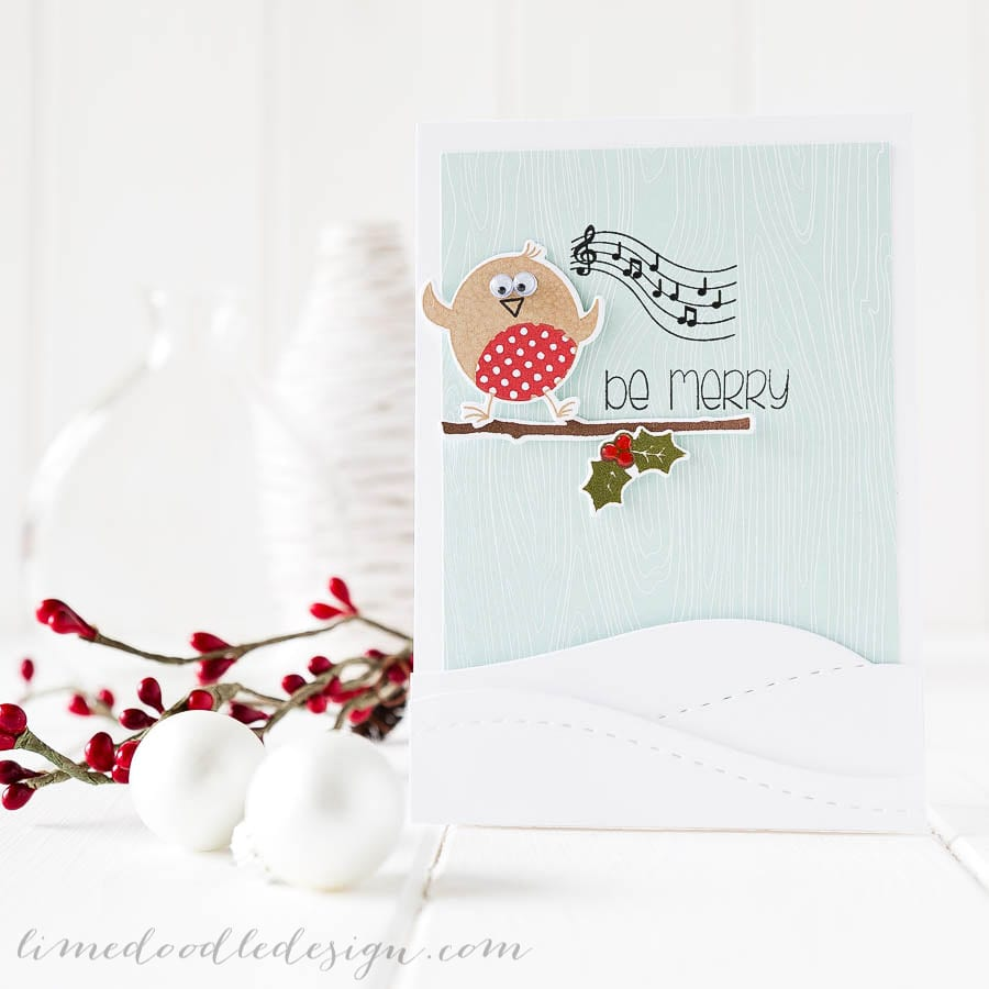 Debby Hughes - Lime Doodle Design - Clearly Besotted Stamps October challenge & new stamps plus Simon Says Stamp dies - christmas, card, robin, snow rockin' robin