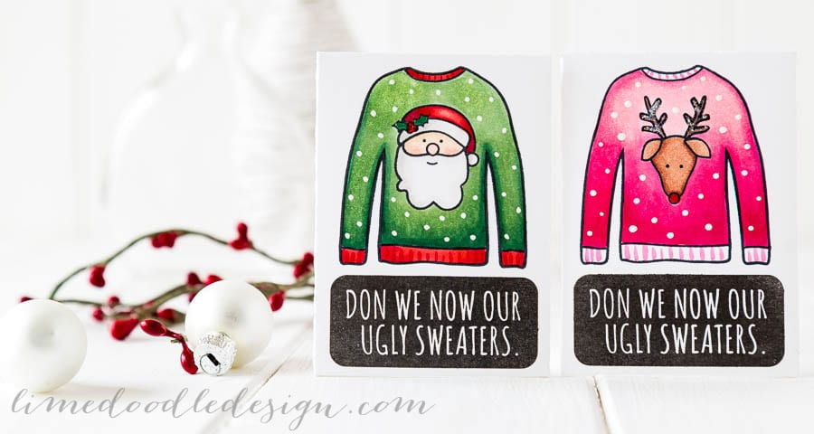 Fun Christmas gift card of cash envelopes using Simon Says Stamp Ugly Sweater set. For more please visit https://limedoodledesign.com/giftcardenvelopes - Debby Hughes - Lime Doodle Design #christmas #giftcard #envelope #ugly #sweater #santa #rudolph