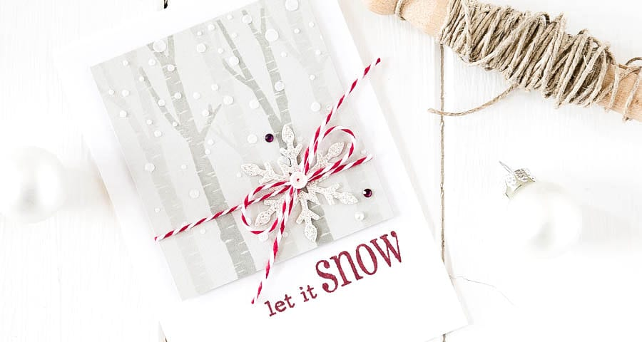 Snowy birch tree Christmas card. For more please visit https://limedoodledesign.com/2014/11/snowy-birch-trees/ - Debby Hughes - Lime Doodle Design - #christmas #snow #tree #card