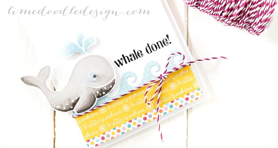 Whale done congratulations card. For more please visit https://limedoodledesign.com/2014/11/whale-done/ - Debby Hughes - Lime Doodle Design - #whale #congratulations #cute #card