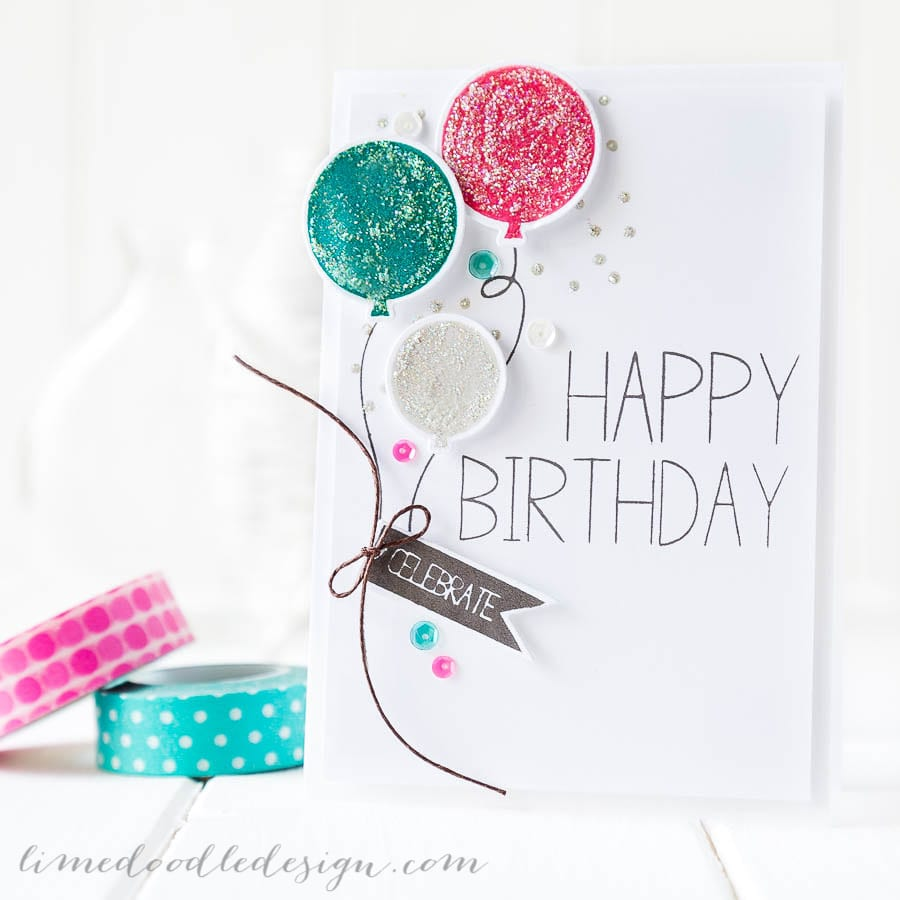 Surprise birthday party balloons card. For more please visit https://limedoodledesign.com/2014/11/birthday-blog-hop/ - Debby Hughes - Lime Doodle Design - #birthday #card #balloons #suprise